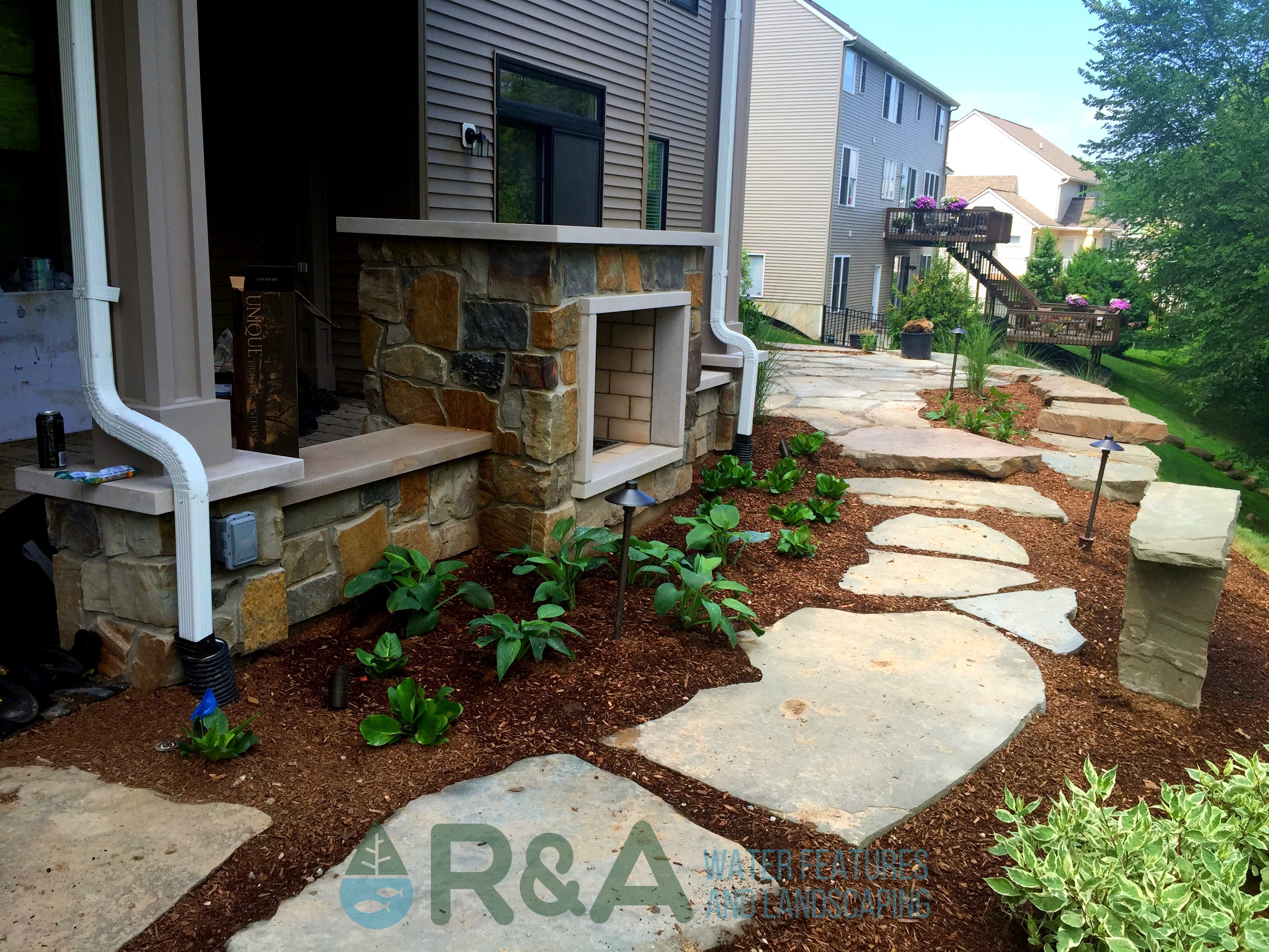 flagstone patio for backyard outdoor living space