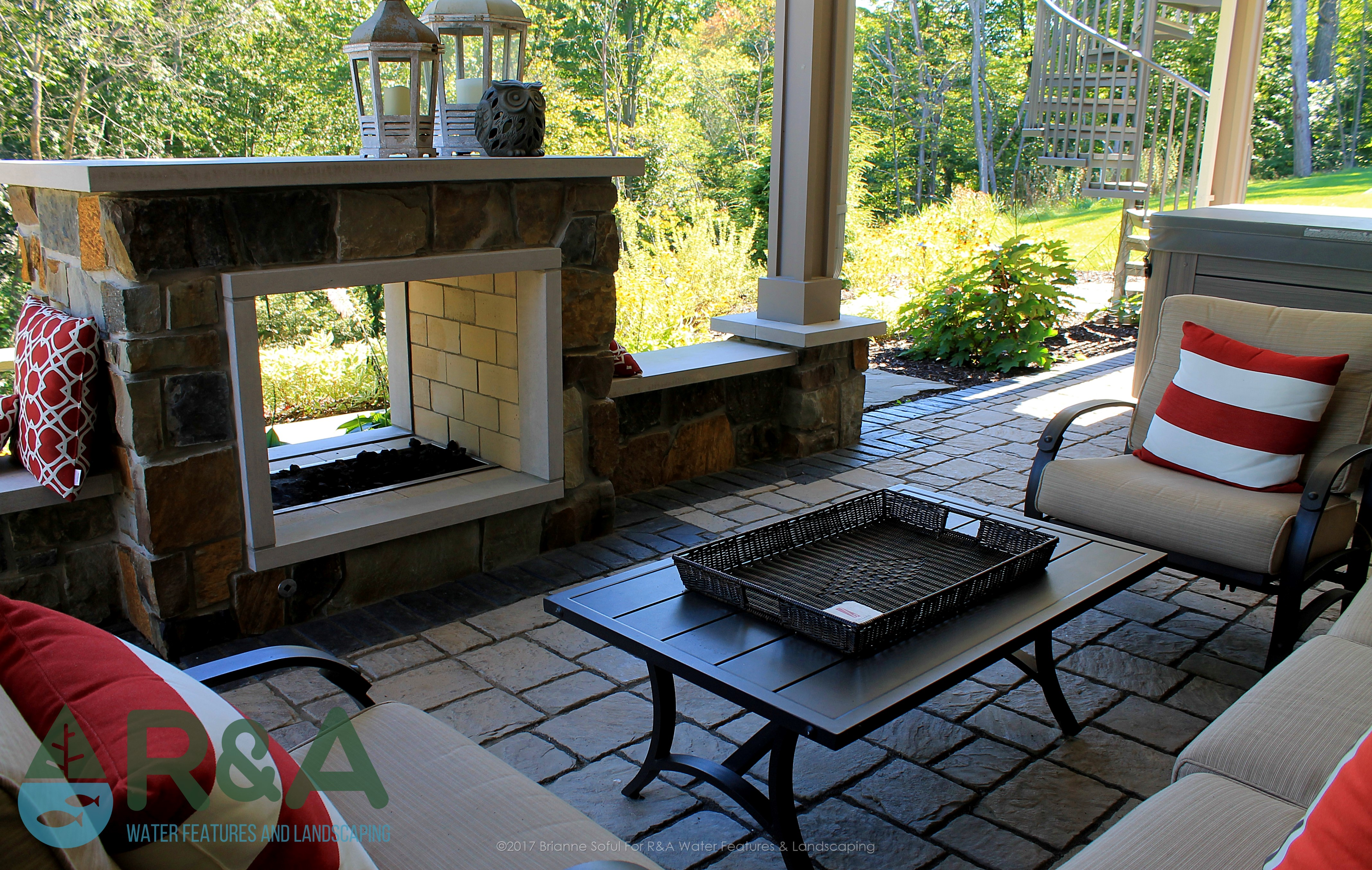Grand Rapids Outdoor Living Area Landscaping Fireplace Deck 1