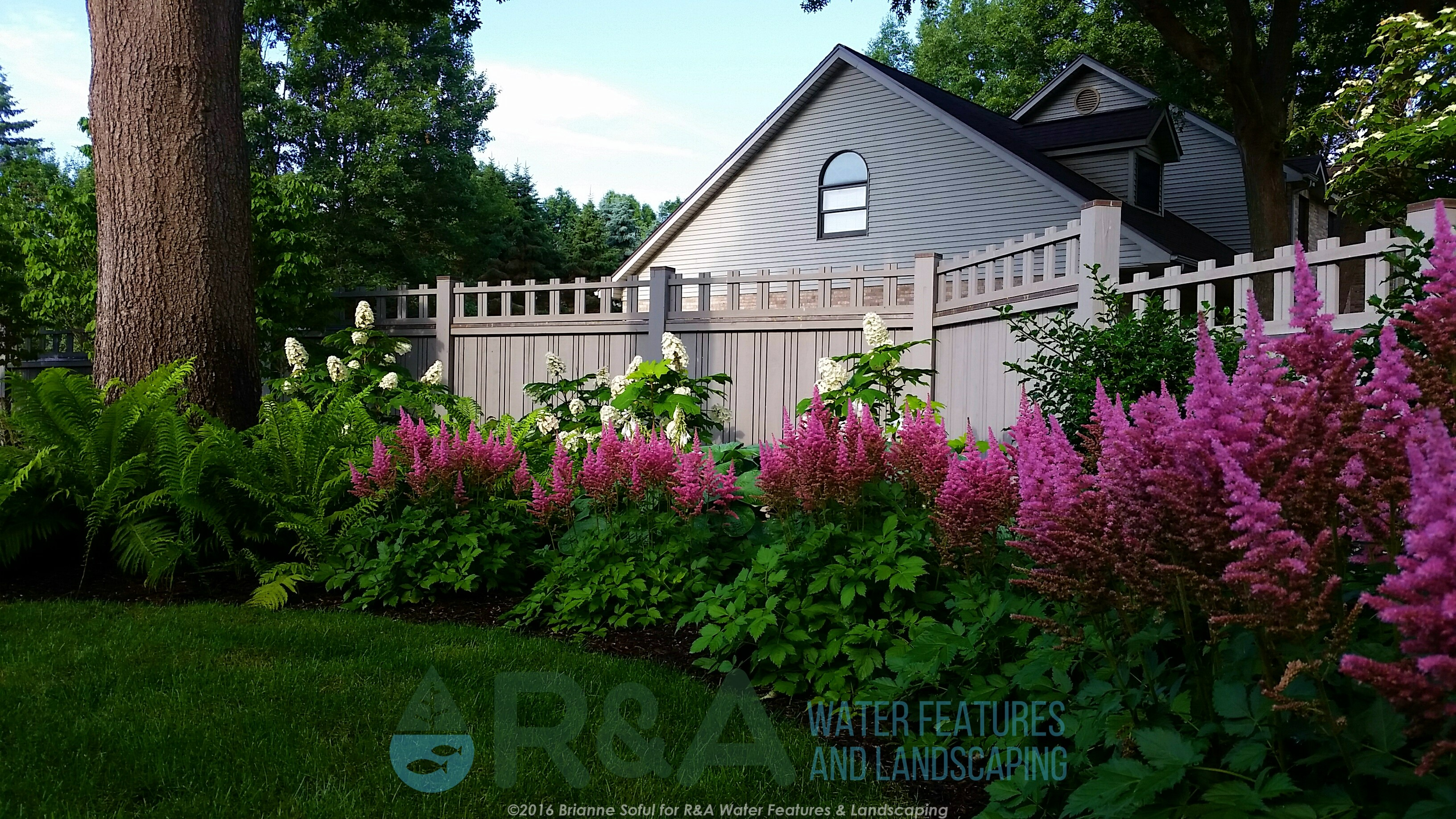 Texas Township Estate Renovation Landscape Water Feature Patio Grass In Shade Garden