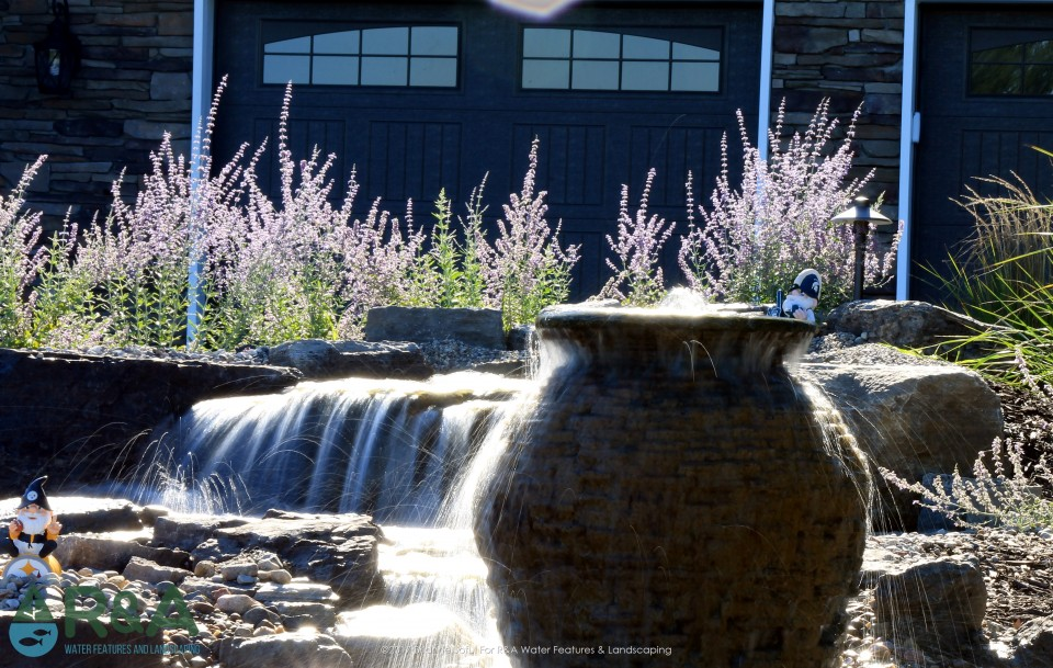 Ada Pondless Water Feature Waterfall Stream Fountain Spillway Bowl Urn Landscape Lighting Low Maintenance Plants Landscaping 1