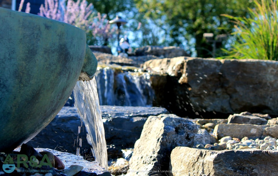 Ada Pondless Water Feature Waterfall Stream Fountain Spillway Bowl Urn Landscape Lighting Low Maintenance Plants Landscaping 5