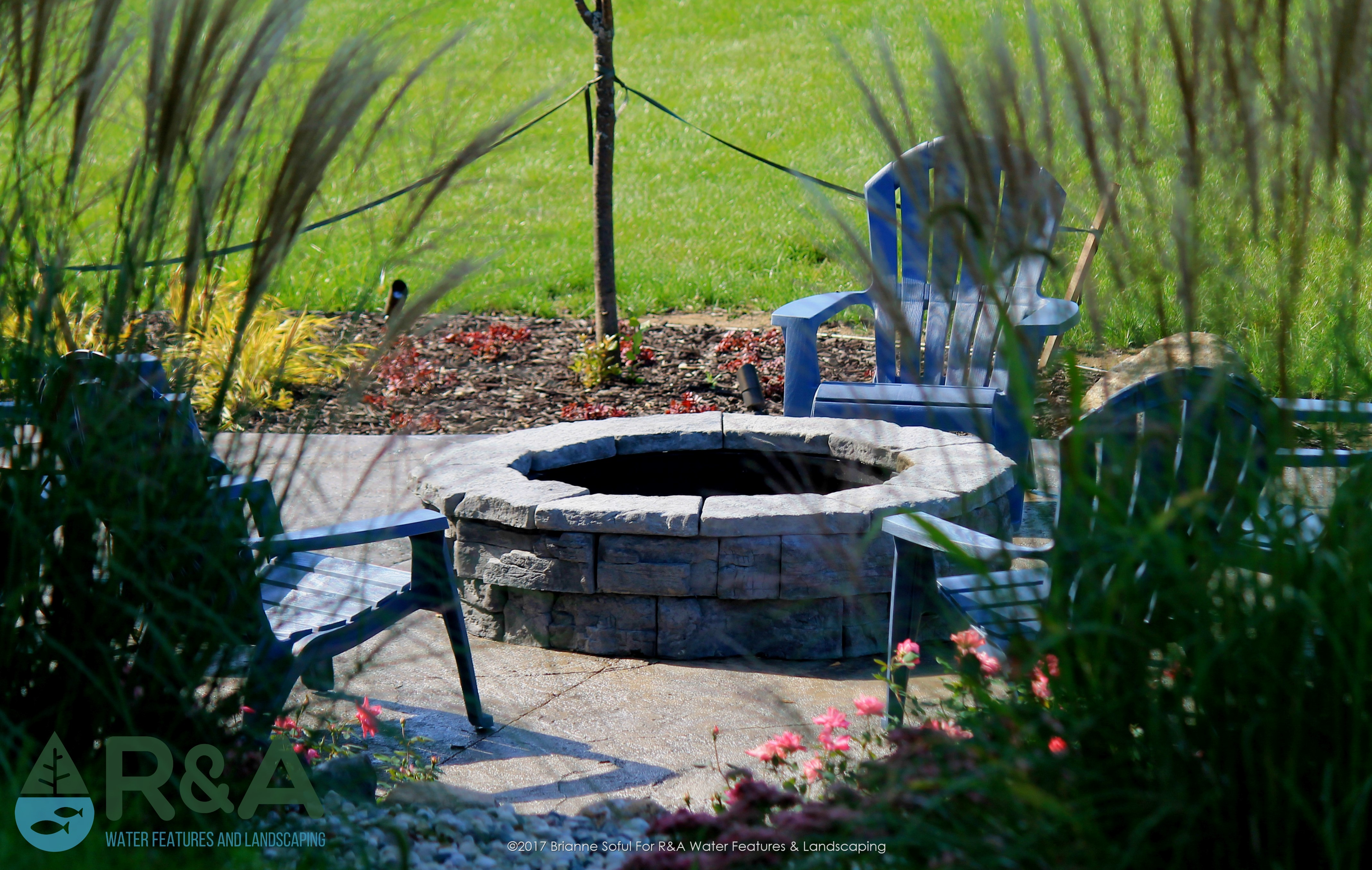 Mattawan Outdoor Living Area With Fire Pit Landscape Design And Backyard Patio