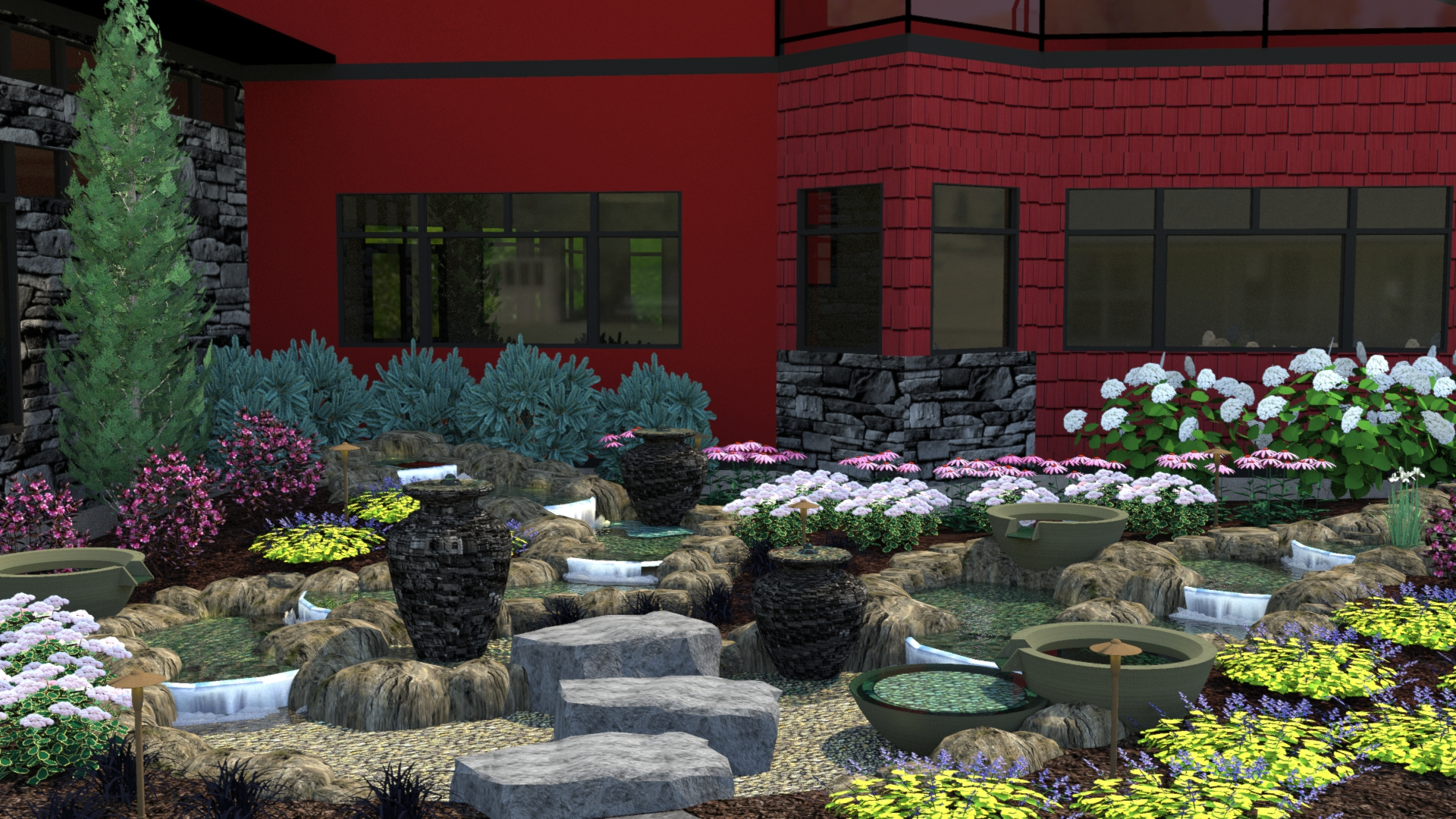 Vicksburg Water Feature Unique Pond Waterfall Landscape Retaining Wall 1