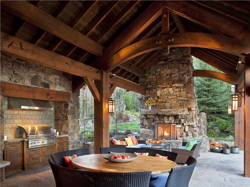 Outdoor Living Space Kitchen Fireplace Covered Patio R A Landscaping