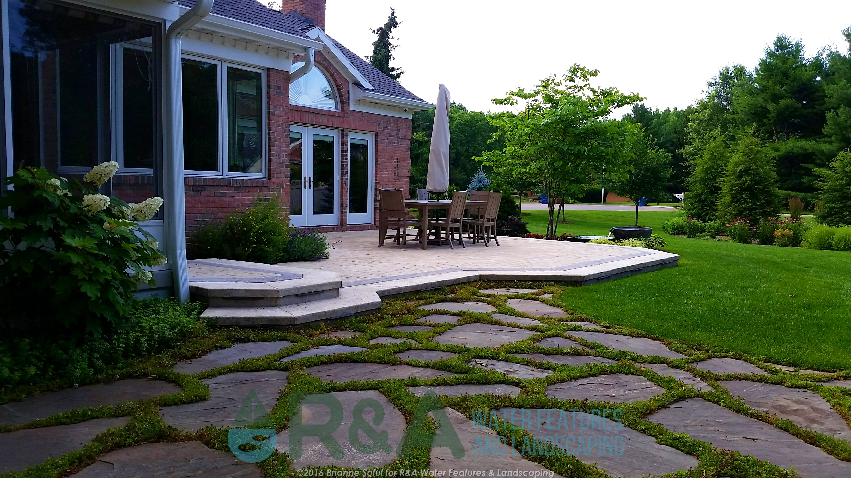 Texas Township Estate Renovation Landscape Water Feature Patio 1