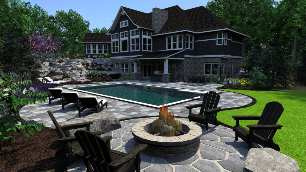 Landscape designed in-ground pool, patio, natural area, with stairs leading to house surrounded by artfully placed rocks