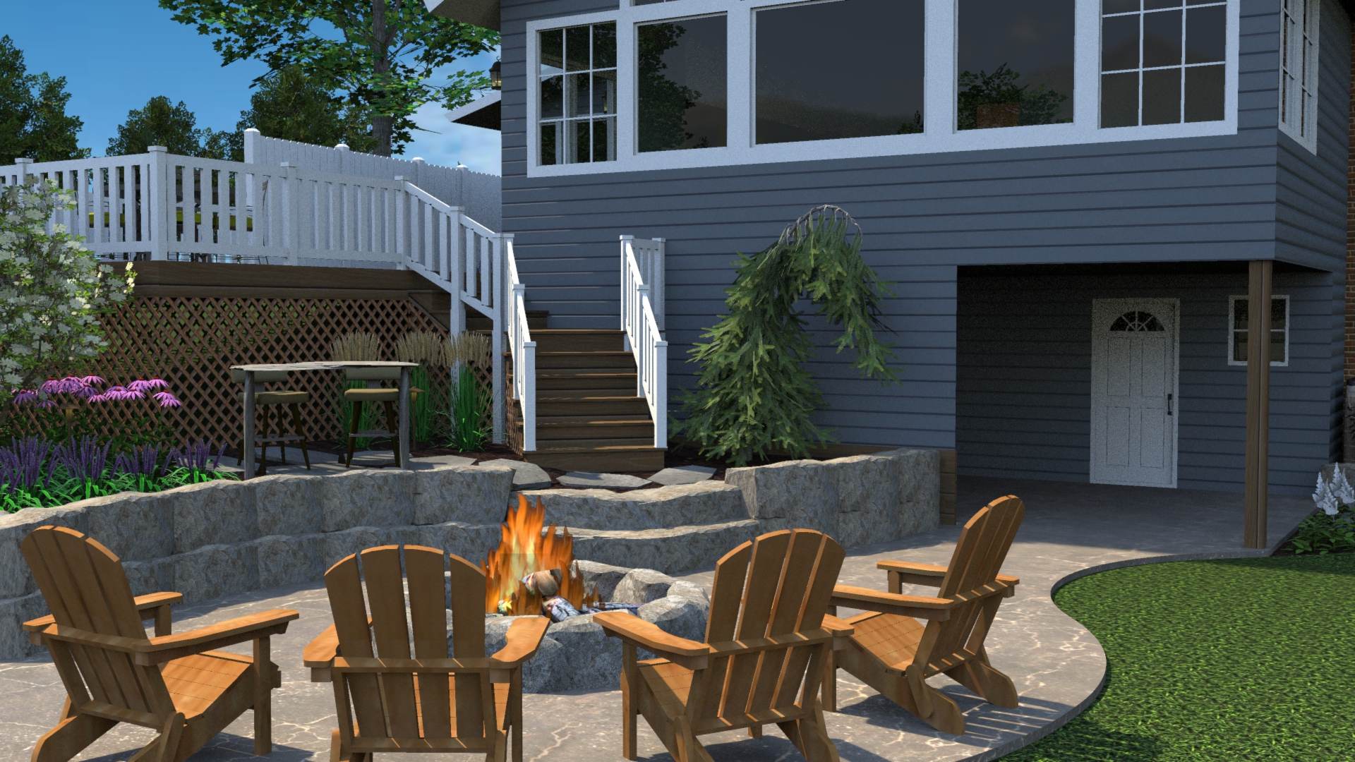 Richland Landscaping Patio Fire Pit Deck Retaining Wall Steps Pine Lake