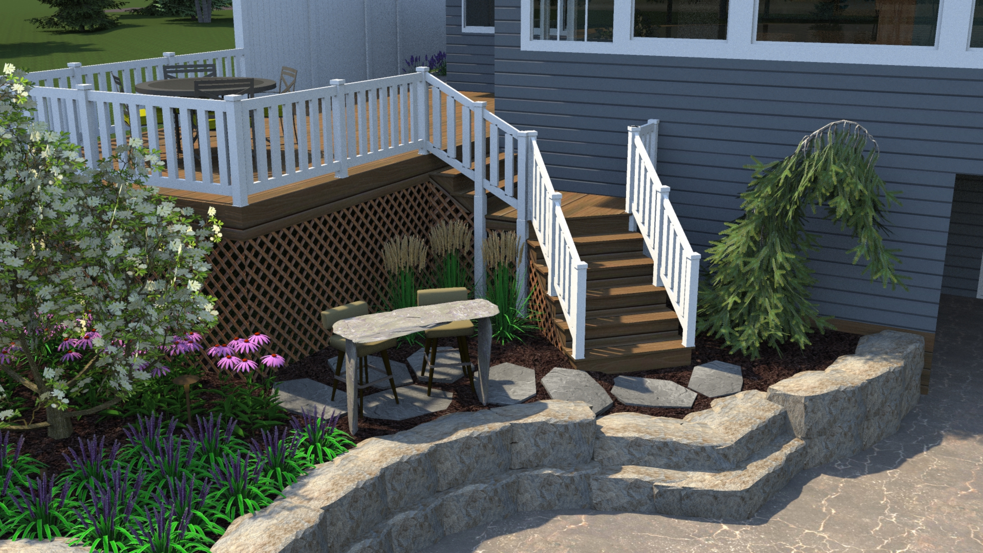 Richland Landscaping Patio Fire Pit Deck Retaining Wall Steps Pine Lake 2