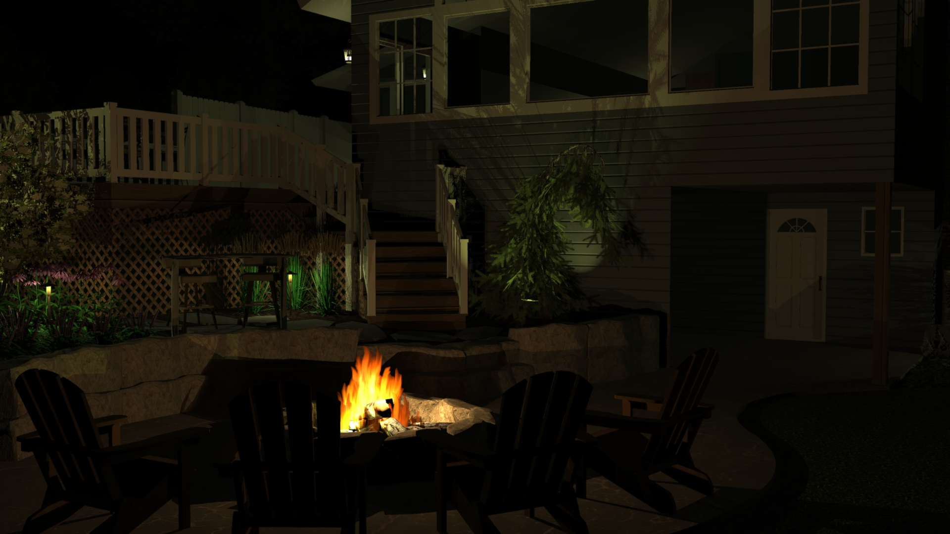 Richland Landscaping Patio Fire Pit Deck Retaining Wall Steps Pine Lake 3