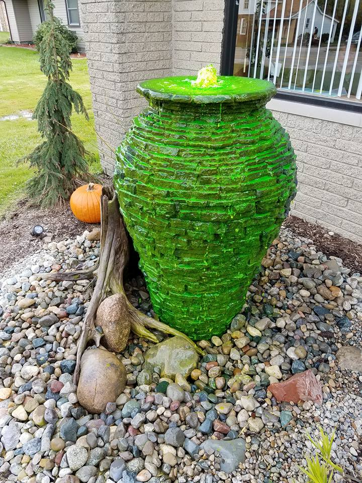 Decorative Water Fountain Ideas Stacked Slate Urn Kalamazoo Grand Rapids