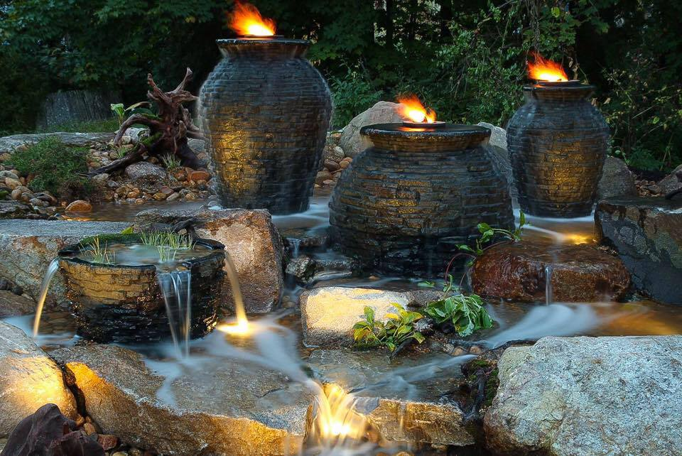 Decorative Water Fountain Ideas Stacked Slate Urn and Fire Feature Grand Rapids Kalamazoo