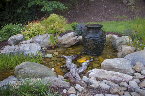 Decorative Water Fountain Ideas Stacked Slate Urn in Pond Kalamazoo Grand Rapids