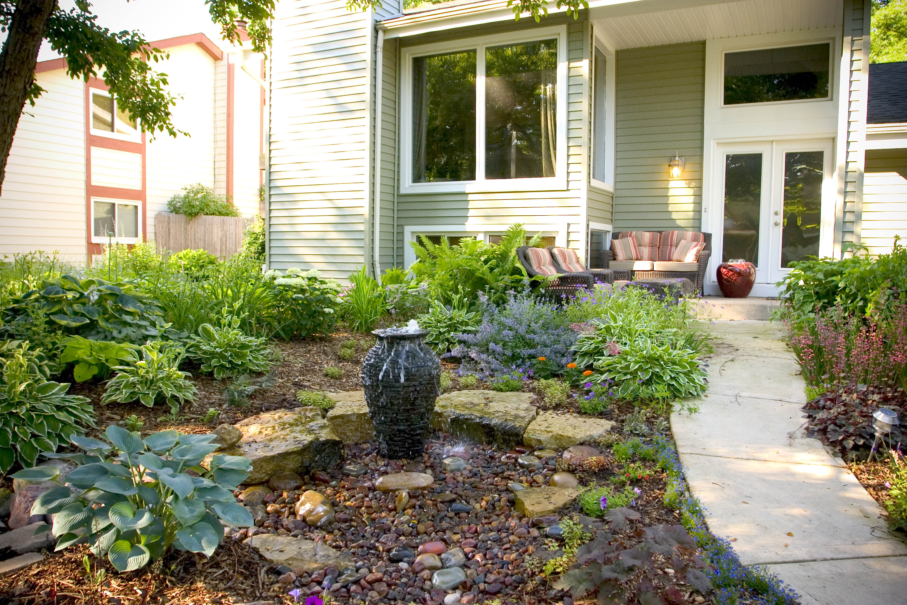 Decorative Water Fountain Ideas Stacked Slate Urn Grand Rapids Kalamazoo