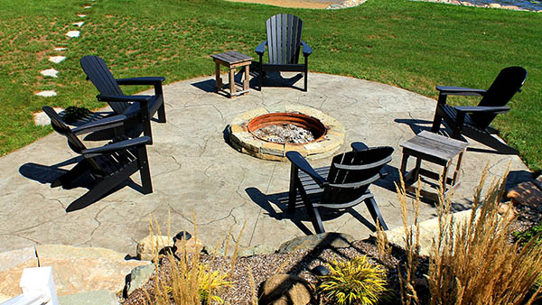 Fire pit on patio in Southwest Michigan